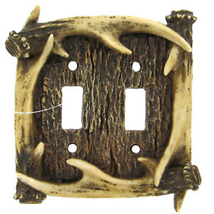 Lodge Rustic Log Cabin Decor Deer Antler Double 2 Light