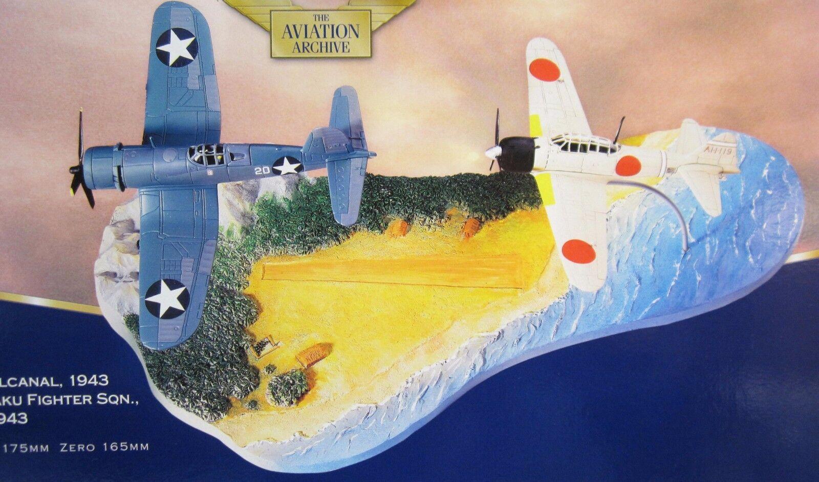 CORGI Guadalcanal 2 Avion Set Corsair F4U -1 & MITSUBISHI A6M2 ZERO + DIORAMA 1 72