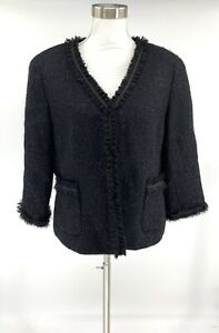 Talbots-Women-s-Button-Down-Blazer-Jacket-Black-Size-14-Tweed-Wool-Blend-A9
