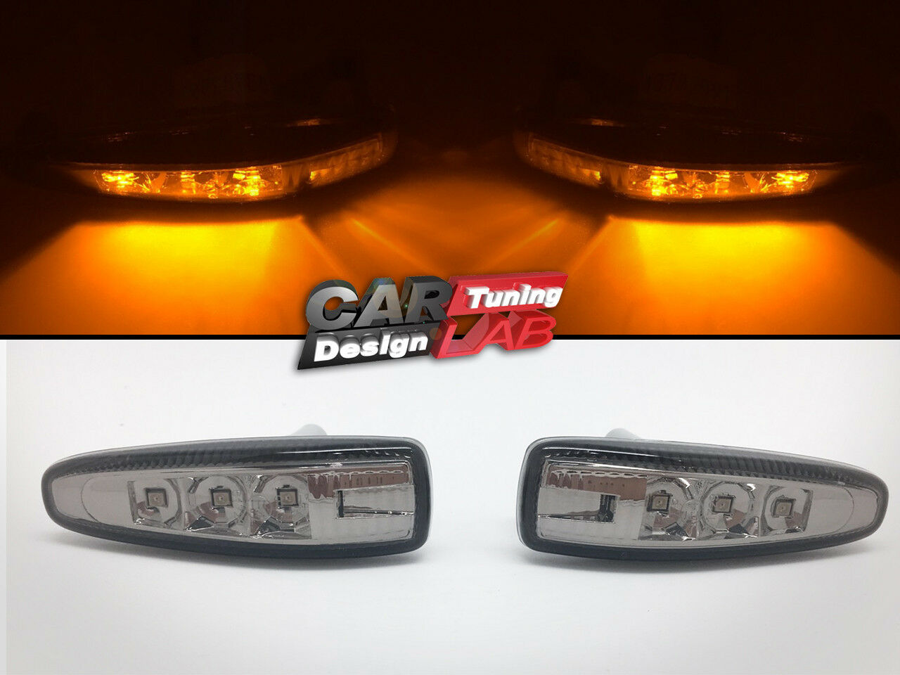 Smoked Lens Amber Led Side Markers Turn Signal Light For