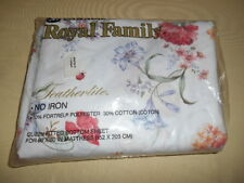 Vtg Bed Sheet Queen Fitted Cannon Royal Family No Iron Featherlite Floral