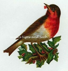 image is loading vintage christmas fabric block red robin holly leaves - Is Red Robin Open On Christmas