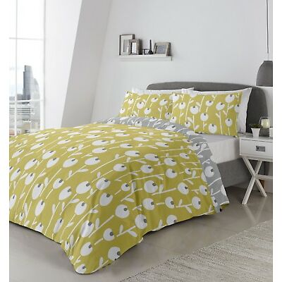 Fusion Alabar Floral Reversible Duvet Cover Bedding Set Ochre, Coral or Mint