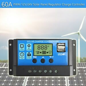 60a solar regulador de carga Controller panel batería regulador pwm LCD dual USB 12v/24v F