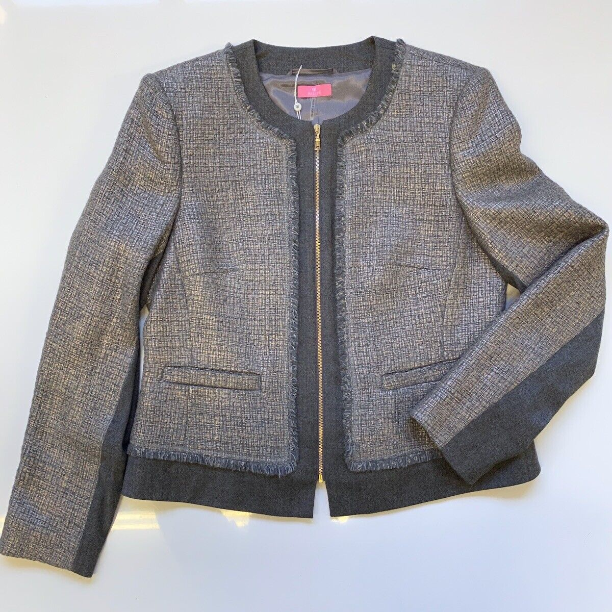 NWT BASLER Grey Whisp Silver Collarless Wool Zip Blazer Jacket sz 40 10