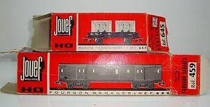 Boite-Vide-JOUEF-x-2-Fourgon-Bagage-ref-459-amp-Wagon-Containers-645-Etat-Moyen