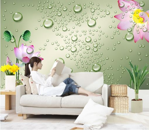 3D Le gocce d'Acqua 7 Parete Murale Carta da parati immagine sfondo muro stampa