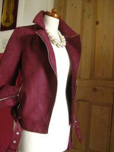 Ladies-NEXT-faux-leather-JACKET-10-Tall-biker-flying-aviator-bomber-fur-collar
