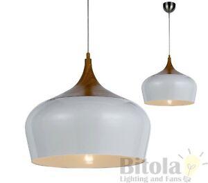 Telbix polk 30 medium 1 light ceiling pendant oak white modern hanging
