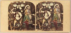 Scena Da Genere Artistico Calzolaio Foto Stereo Vintage Albumina Ca 1860