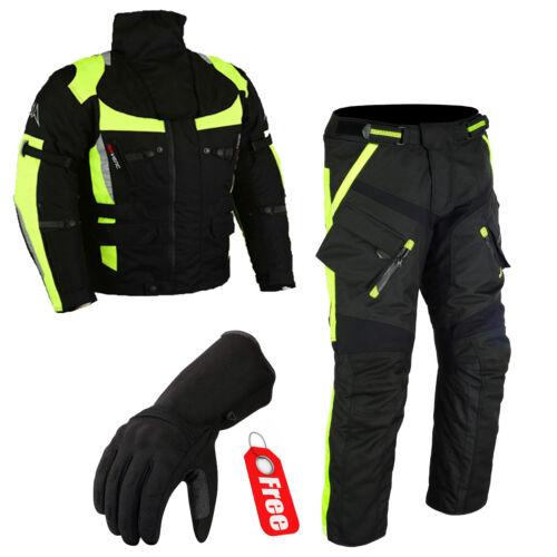 Moto Combi 2 pièces Veste Avec Pantalon Textile Combi M à 4xl Noir Jaune-L