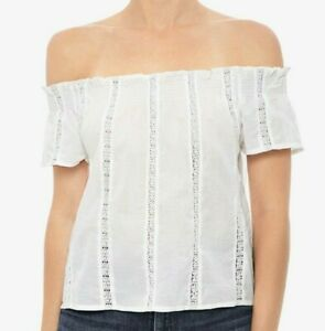 NWT-JOE-039-S-JEANS-SzM-JESSIE-OF-THE-SHOULDER-LACE-INSETS-TOP-BLOUSE-WHITE