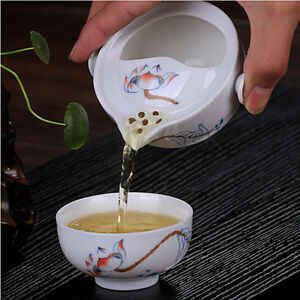 Gaiwan-EASY-Service-a-the-1-Pot-amp-1-Tasse-Elegant-Theiere-Porcelaine-Bouilloire