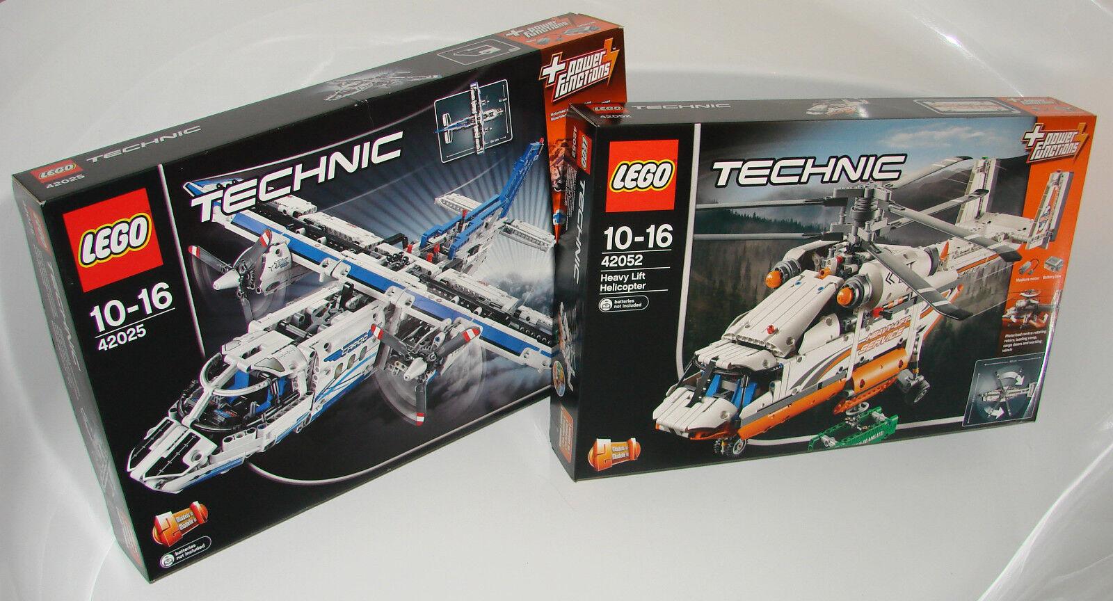 LEGO ® Technic confezione doppia 42025+42052 Aereo Cargo + pesanti Elicottero NEW