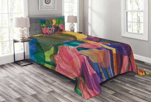 Details about  /Flower Quilted Bedspread /& Pillow Shams Set Watercolor Garden Art Print