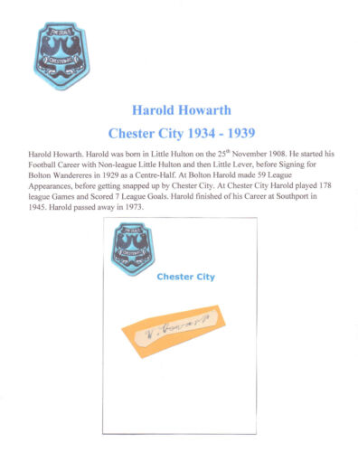 HAROLD HOWARTH CHESTER CITY 19341939 VERY RARE ORIG HAND SIGNED CUTTINGCARD