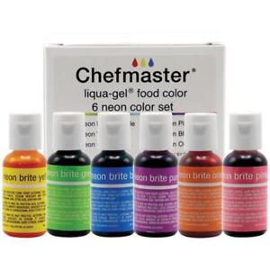Details about Chefmaster LIQUA-GEL Food Color Coloring 6pc Set NEON BRITE  Colors Made ins USA
