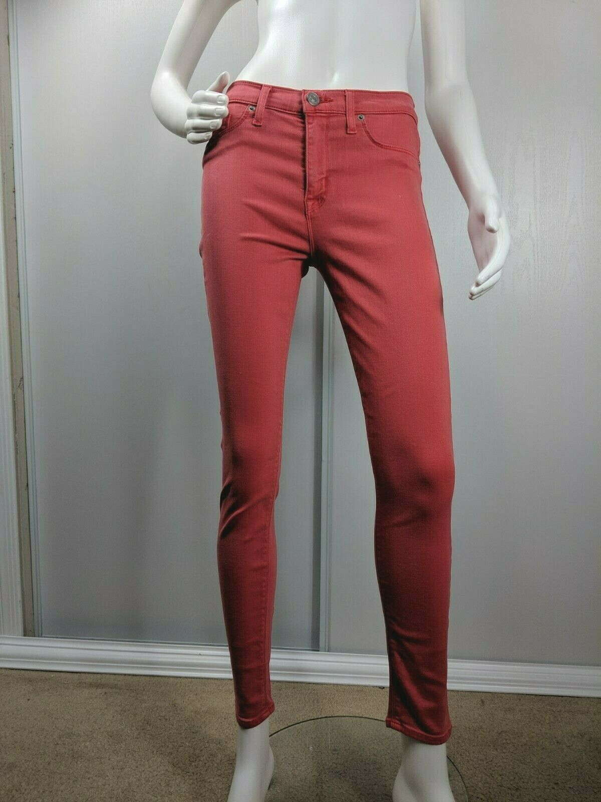 Hudson Midrise Ankle Natalie Jeans Size 29 Red Super Skinny Stretch Womens