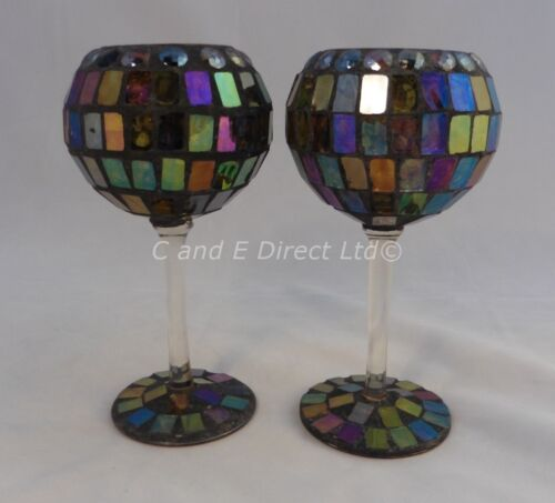 Yankee Candle Set of Two Stem Mosaic Wine Glass Style Votive Candle Holders NEW
