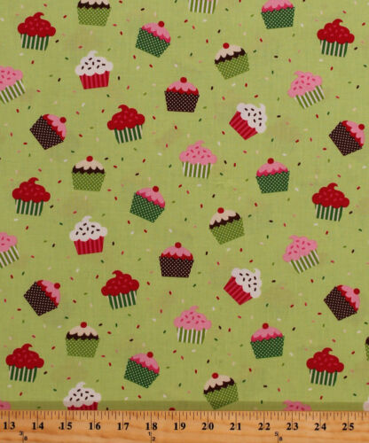 Cotton Christmas Cupcakes Cake Sprinkles Food Holiday Festive Fabric BTY D677.21
