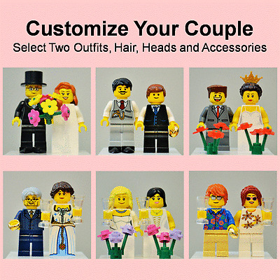 New Genuine LEGO Wedding Cake Topper Bride Groom Couple Customize