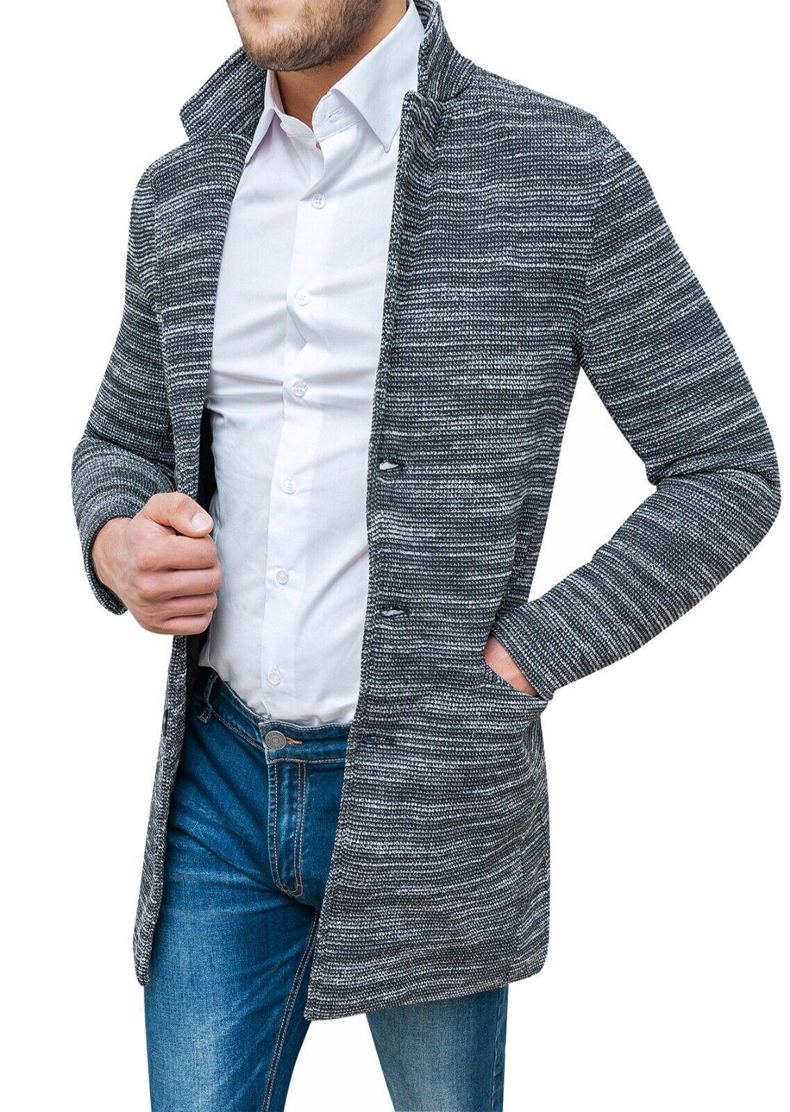 Mantel Mantel Herren Diamant Winter Grau Schwarz Slim Fit Elegant Tweed .