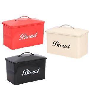 Style-Vintage-Bread-Bin-Large-Acier-Inoxydable-de-stockage-de-denrees-alimentaires-Retro-Maison
