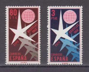 ESPANA-1958-NUEVO-MNH-SPAIN-EDIFIL-1220-21-EXPOSICIoN-BRUSELAS-1958