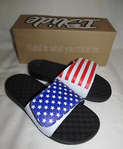 Details about New USA American Flag ISlide Mantra Red White Blue Sandals  Mens Size 8 Womens 10 b6bb6b9df4