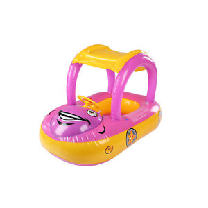 Kids-Inflatable-Baby-Float-Seat-Boat-Car-Sun-Shade-Water-Swimming-Pool-Canopy
