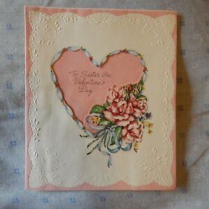 Details about Vintage Valentine\u0027s Day Card Forget Me Not T7581 SISTER, Pink  Roses, Embossed
