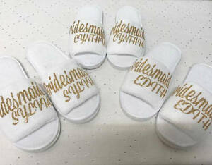 Details About Usa Bridal Slippers Bridesmaid Gifts Bride Gift Womens Plush Open Toe Gift