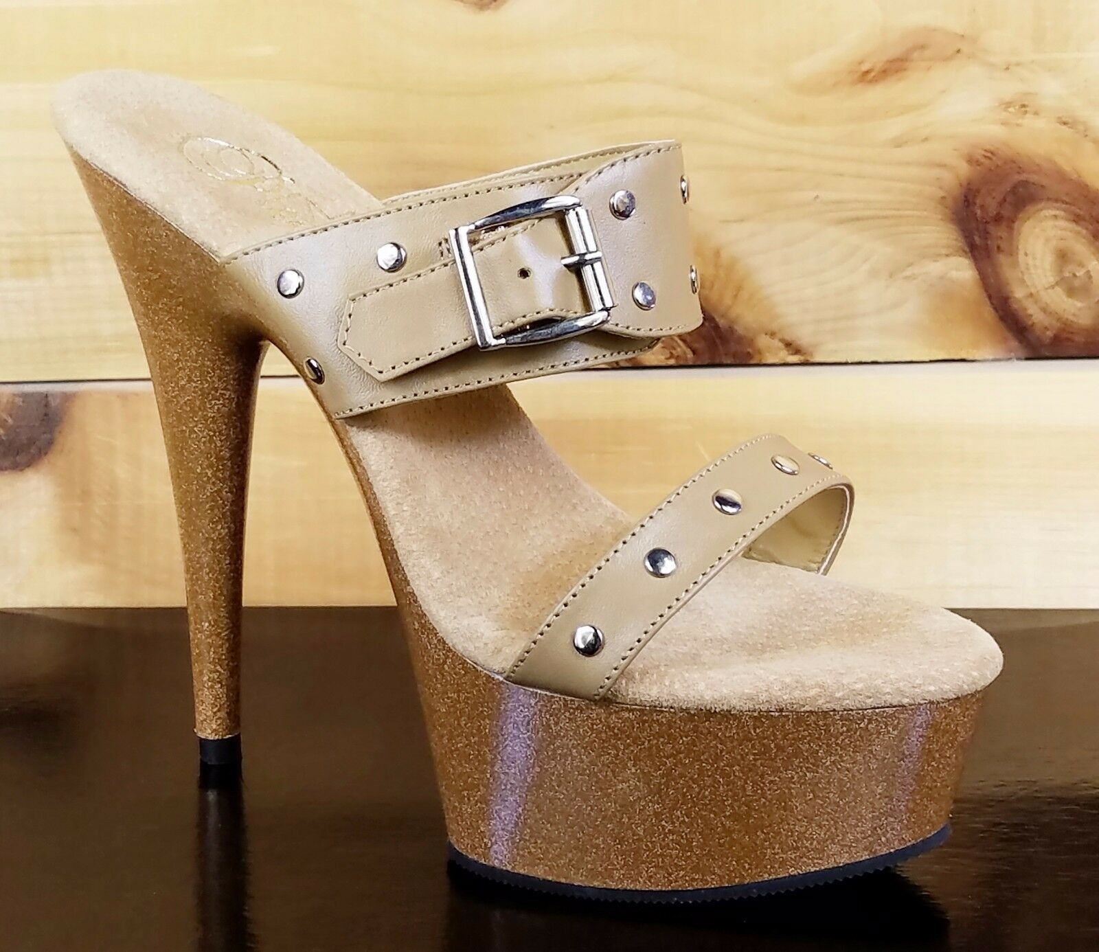 Delight 602-9 en cuir marron clair 2 Bracelet Diapositive Plateforme Chaussure 6  Talon 7,9 & 10