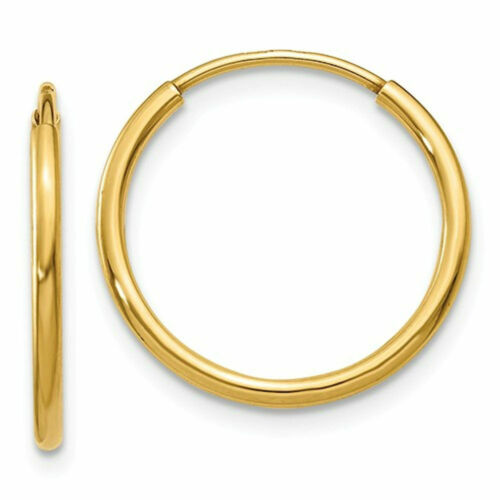 14mm 14K Gold Mens Unisex Endless Hoop Earrings 8mm