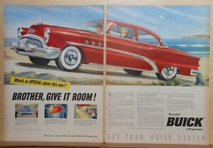 1953 two page magazine ad for Buick - red '53 Special, Brother Give It Room!