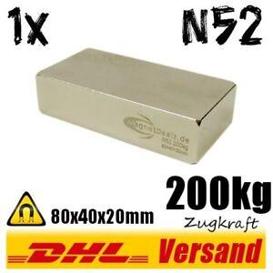 Neodym-Magnet-High-Power-Blockmagnet-80x40x20mm-8x4x2cm-N52-200kg-hohe-Zugkraft