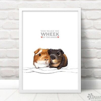Guinea Pig Art Print Anniversary GiftWheek at the KneesFrame Not Included