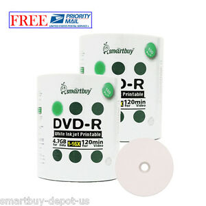 200-Pcs-SmartBuy-DVD-R-DVDR-16X-4-7GB-White-Inkjet-Hub-Printable-Recordable-Disc