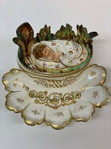 Antiguedad-Figural-Porcelana-Tinta-Soporte-Moises-Bullrushes-Londres-Exposicion