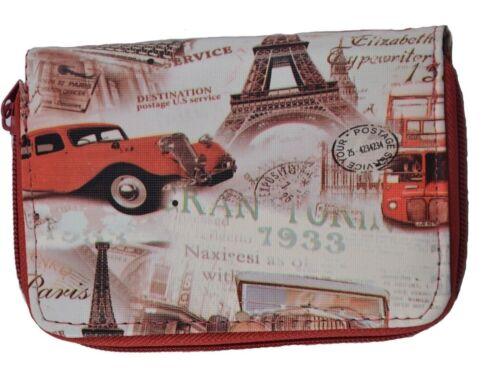 Damen Portemonnaie Geldbörse Brieftasche Wallet Paris London UK Auto Bus rot