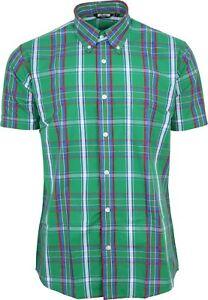 huge discount f3f53 73f76 Dettagli su Relco Mens Verde Camicia a Quadretti Tartan Maniche Corte