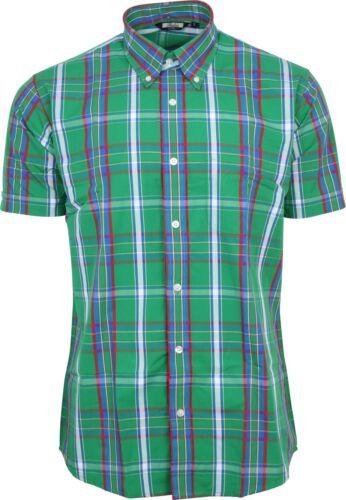 Skin Retro Indie korte Relco met 60s Tartan Check Shirt mouwen Green Mens Mod jA3RL54