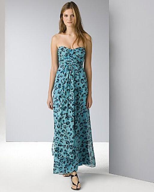 3eee230ba1dd4 New  395 Nanette Lepore Full Length Silk Dress Teal Cheetah Leopard Print  SZ 2