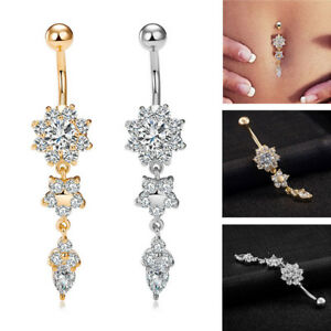Belly Bars Drop Body Piercing Belly Button Ring Crystal Dangly Reverse Navel