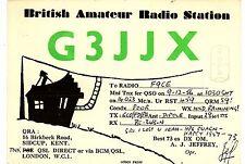 AA37 Carte QSL Radio Amateur Opérateur G3JJX en ENGLAND a SIDCUP KENT