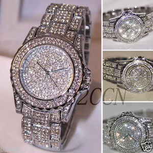 Luxury-Women-039-s-Crystal-Silver-Stainless-Steel-Analog-Quartz-Bracelet-Wrist-Watch