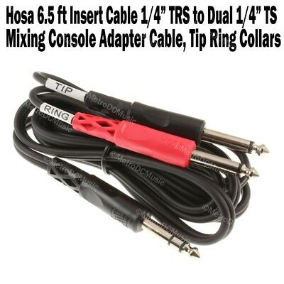 """2-Pack Hosa 3m Insert Cable 1//4/"""" Stereo TRS Male to Dual 1//4/"""" Mono TS Tip Ring"""