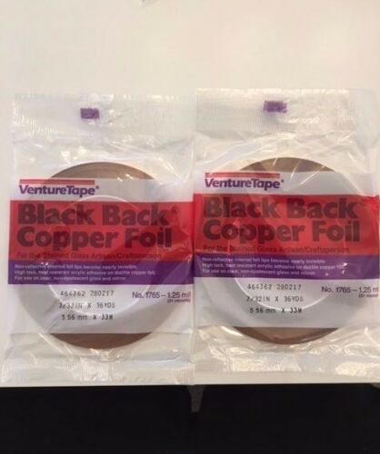 """7//32/"""" Stained Glass Copper Foil BLACK BACK 2 Rolls By Venture Tape"""