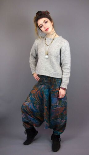 Flower Fleece Patterned Boho Festival Harem Afgani   Pants Trousers Yoga Green