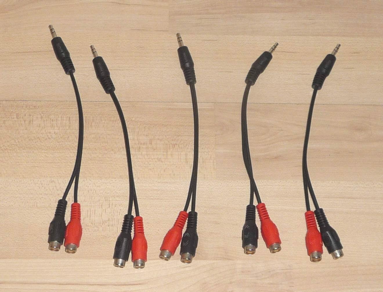 5x Chinch Plug Rca Adapter Distributor Plug Mobile Phone MP3 An Amplifier 3,5mm